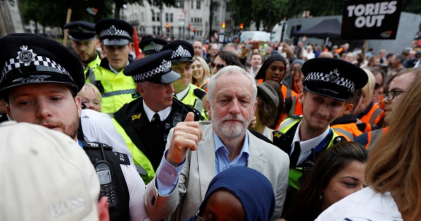 Labour Party leader, Jeremy Corbyn, leaves after addressing an anti-austerity rally in Parliament Square, London, UK, July 1, 2017